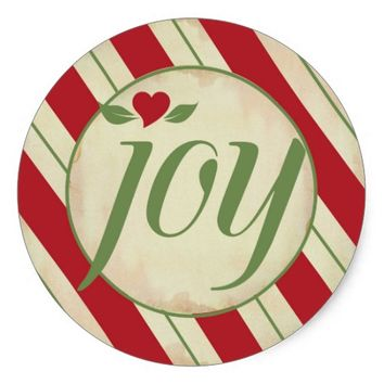 Joy Christmas Sticker - Red and Green Stripes