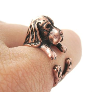 Realistic Basset Hound Shaped Animal Wrap Ring in Copper | Sizes 4 to 8.5