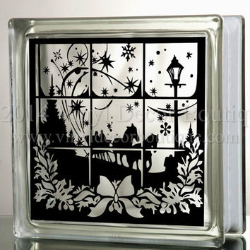 Dashing through the snow glass block decal tile mirrors diy deca