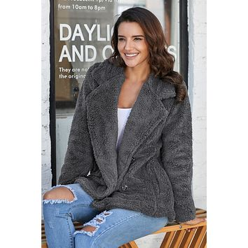 Winter Charcoal Fleece Open Front Coat With Pockets