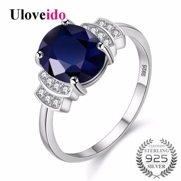 Uloveido Silver 925 Jewelry Dark Blue Zircon Wedding Rings for Women Engagement Ring with Stone Women's Ring with Box 20% CJ008