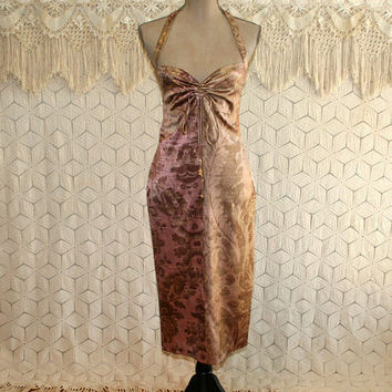 Sexy Silk Halter Dress Small High Waist Cocktail Dress Party Club Shimmery Metallic Roberto Cavalli Size 44 Italian Designer Womens Clothing