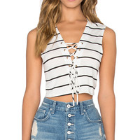 Hailey Crop Top in Ivory Stripe