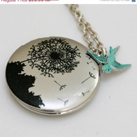 ON SALE Locket,Silver Locket,Dandelions Locket,Bird,Image locket,picture locket, brass locket,Wedding Necklace