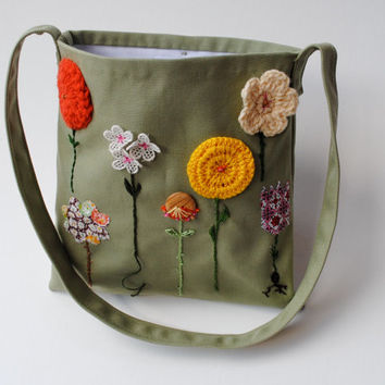 Organic Kids Messenger Bag - Embroidered Summer Garden Flowers Cross Body Purse in Olive Green with Gold (Ready to Ship)