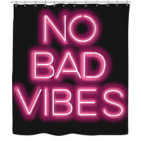 Neon No Bad Vibes Shower Curtains