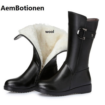 AemBotionen Plus size 35-43 women boots, 2016 new  women genuine leather winter boots, thick wool lined with mother's snow boots
