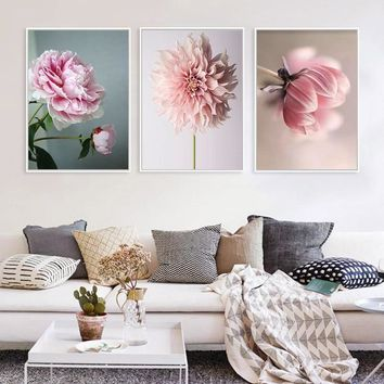 Nordic Poster Beauty Life Pink Flowers Pictures Modular Wall Art Prints Canvas Painting For Living Room Modern Home Decoration