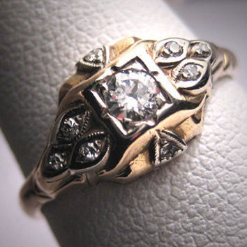 Antique Diamond Wedding Ring Vintage Victorian Art Deco - High Quality Stone