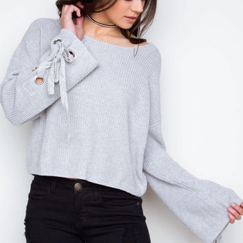 Whirlwind Side Lace Sweater - Light Gray