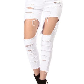 White Distressed High Rise Ankle Jeans