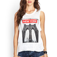 FOREVER 21 New York Muscle Tee White/Black Large