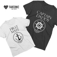 Captain Daddy First Mate, Daddy Son Shirts, Daddy and son shirts, Daddy Son matching shirts, Father son shirts, Screen-printed