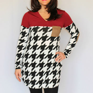 Black and White Houndstooth Tunic with Burgundy Top and Brown Elbow Patches