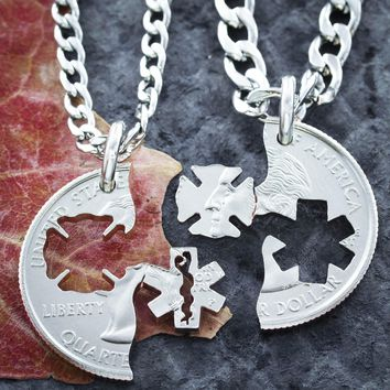 Firefighter and Emt Couples Necklaces Hand Cut Coin by NameCoins