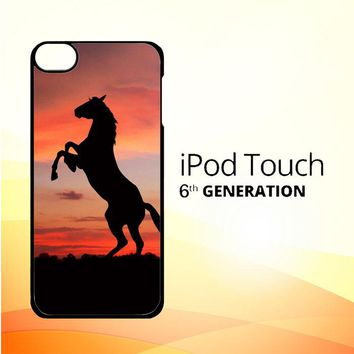 Horse Silhouette On Red Sunset Y1880 iPod Touch 6 Case