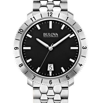 Bulova Mens Accutron II Watch - Stain Steel Case & Bracelet - Black Dial