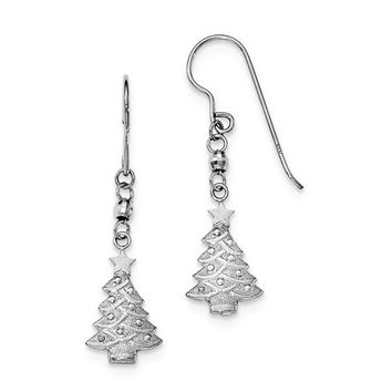 Sterling Silver Rhodium Plated Christmas Tree Dangle Earrings