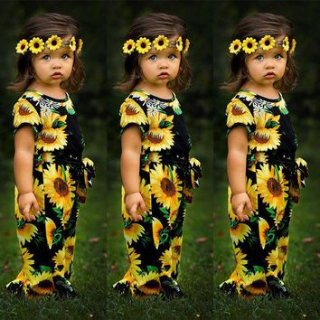 USA Toddler Kids Baby Girls Sunflower Romper Bodysuit Jumpsuit Outfits Playsuit