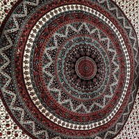 Gree Brown Star Mandala Psychedelic Tapestry Wall Hanging Decor Bedspread Beach Throw Blanket