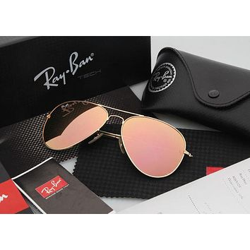 ESBONQK Ray Ban Aviator Sunglasses Yellow Flash/Gold Frame RB3025 112/68F 58mm