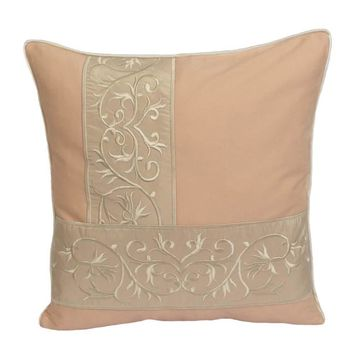 "Cotton Floral Embroidery Pattern 18""x18"" Peach/Cream Pillow Case/Cushion Cover"