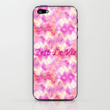 C'est La Vie - That's Life French Typography, Feminine Pretty Pink Pattern Ikat Chevron Pastel Art iPhone & iPod Skin by EbiEmporium