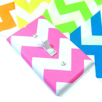 Chevron Light Switch Cover, Neon Pink, Neon Green, Neon Yellow, Neon Blue, Neon Orange, Bright Home Decor