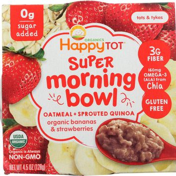 HAPPY TOT: Super Morning Bowl Oatmeal Bananas & Strawberries, 4.5 oz