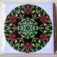 Swallowtail and monarda mandala ceramic tile, floral trivet, wall decoration, garden, decorative tile, butterfly kaleidoscope TILE677