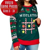 Tic Tac Mistletoe Velcro Game Ugly Christmas Sweater