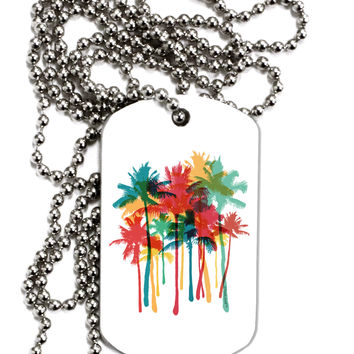 Paint Splash Palm Trees Adult Dog Tag Chain Necklace