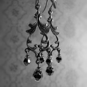 Gothic Chandelier Earrings - Swarovski Crystal Victorian Mourning Jewelry - All Black Metal Jewelry - Dark Romantic October Gothic Wedding