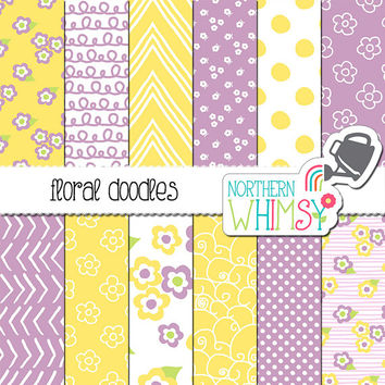 Easter Digital Paper - purple and yellow floral scrapbook papers - hand drawn flower printable papers - seamless patterns - commercial use