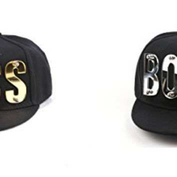 "3D Letter Hip-Hop SnapBack Mirror Baseball Cap ""BOSS"" 400HP (2 pcs Gold & Silver)"