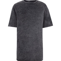 River Island MensGrey acid wash short sleeve sweatshirt