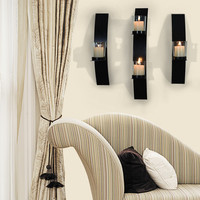 Iron Vertical Candle Tealight Pillar Holder Wall Sconce - One Pillar each (Set of Three)