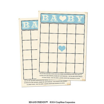 "Digital Baby Shower Bingo Cards/ blue retro baby boy / 5"" by 7"" / downloadable / printable / DIY / baby shower party supplies"