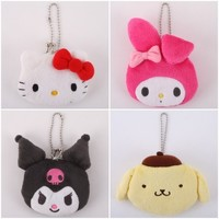 JAPAN HELLO KITTY MELODY POM POM KUROMI MINI PLUSH COIN PURSE + KEYCHAINS