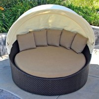 Harmonia Living Wink Outdoor Modern Wicker Daybed with Tan Sunbrella Cushion (SKU HL-WINK-CB-DB-HB)