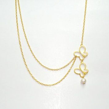 Gold Filled Butterflies Pretty Necklace with Freshwater Pearl