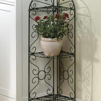 Antiqued Faux Verdigris Iron Corner Plant Display Shelf Stand