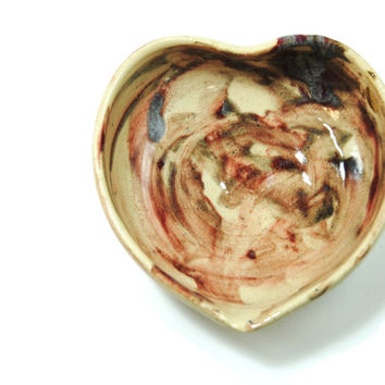 Abstract ceramic bowl - Pottery heart bowl - Ceramic trinket dish  Decorative key bowl  Multi-color bowl - Children's stocking stuffer heart