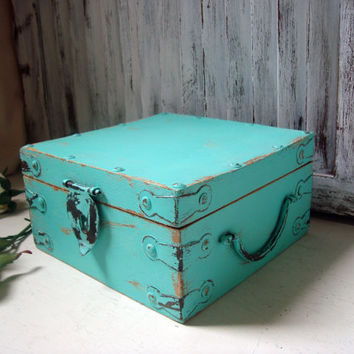 Aqua Distressed Wooden Storage Box, Shabby Chic Teal Box, Jewelry Box, Rustic Turquoise Box, Wedding Card Box,  Gift Ideas