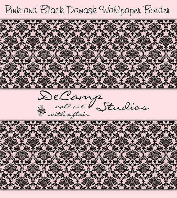 PINK BLACK DAMASK Wallpaper Border Wall Decals Home Decor Baby G