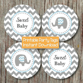 Baby Shower Cupcake Toppers Printable Party Elephant Powder Blue Grey Chevron Cupcake Toppers DIY Party Boy Digital Instant Download - 041