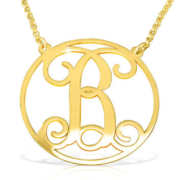 Gold Vermeil Initial Necklace/ Circle initial Gold Vermeil / Vermeil Initial Name Necklace Gold/ Birthday Gift For Woman/ Birthday Gifts