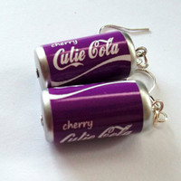 Cherry Cola Earrings Soda Can Charm by KitschBitchJewellery
