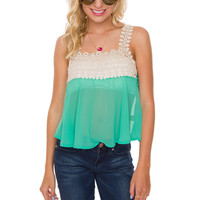 Te Amo Crochet Top - Mint