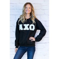Alpha Chi Omega Chevron Crewneck Sweatshirt in Black